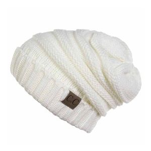 C.C. Beanie Ribbed knit slouchy beanie in IVORY